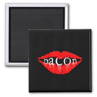 Bacon Lips 2 Inch Square Magnet