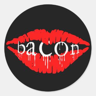Bacon Lips Round Sticker