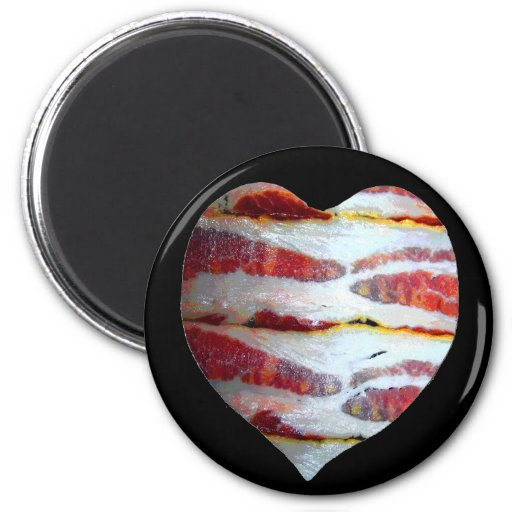 Bacon Love Heart 2 Inch Round Magnet