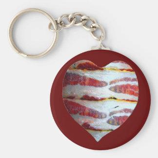 Bacon Love Heart Basic Round Button Keychain
