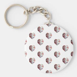Bacon Love Heart Pattern Basic Round Button Keychain