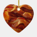 Bacon Love Double-Sided Heart Ceramic Christmas Ornament