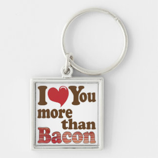 Bacon Lover Silver-Colored Square Keychain
