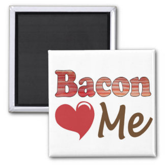 Bacon Loves Me 2 Inch Square Magnet