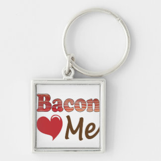 Bacon Loves Me Silver-Colored Square Keychain