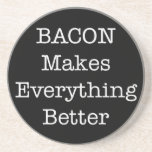 "BACON Makes Everything Better Coaster<br><div class=""desc"">Black and White Design: BACON Makes Everything Better Were truer words ever spoken? We think not. Whether you are a bacon lover or foodie, this baconized design will transport you into a crispy, crunchy, delicious, greasy, bacony state of extreme happiness. Start your own bacon of the month club with these...</div>"