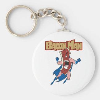 Bacon Man Basic Round Button Keychain