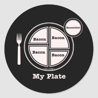 Bacon My Plate Classic Round Sticker