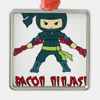 Bacon Ninja Square Metal Christmas Ornament