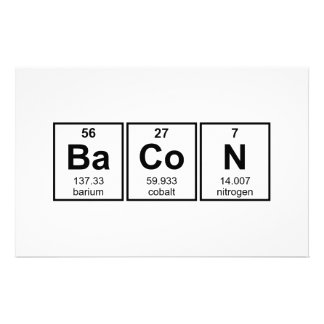 Bacon Periodic Table Element Symbols Stationery