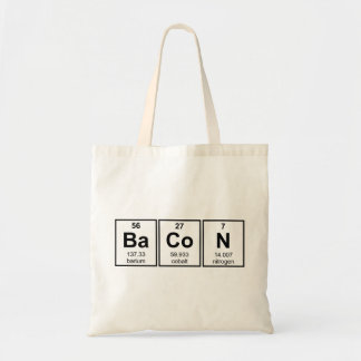 Bacon Periodic Table Element Symbols Tote Bag