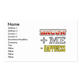 Bacon Plus Me Equals Happiness Funny Business Card
