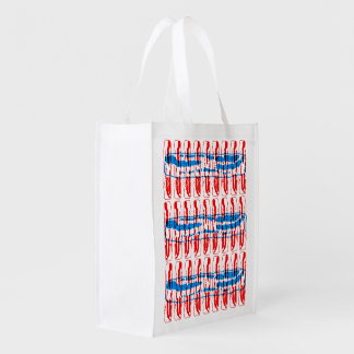 Bacon Pop Art  - Red and Blue Grocery Bag