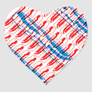 Bacon Pop Art, Red and Blue Heart Sticker