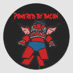 bacon power round stickers