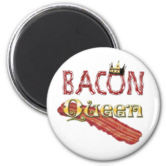 Bacon Queen with Crown 2 Inch Round Magnet