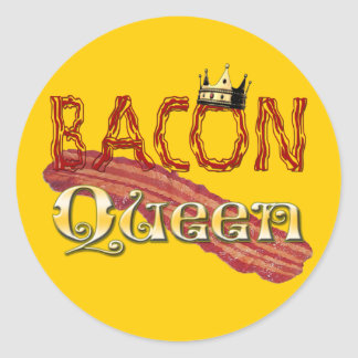 Bacon Queen with Crown Classic Round Sticker