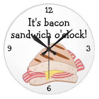 Bacon Sandwich O'Clock fun food graphic Large Clock