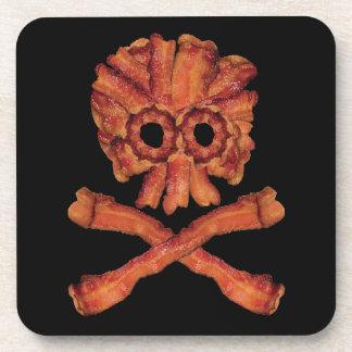 Bacon Skull and Crossbones Drink Coaster