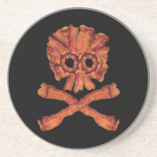 Bacon Skull and Crossbones Drink Coasters