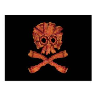 Bacon Skull and Crossbones Postcard