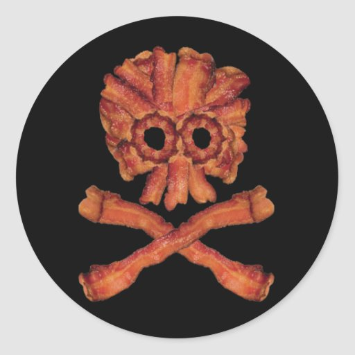 Bacon Skull and Crossbones Round Stickers