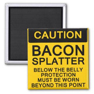 Bacon Splatter Caution 2 Inch Square Magnet