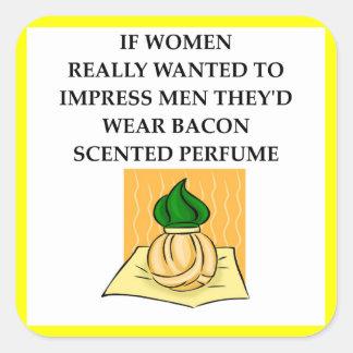 bacon square sticker