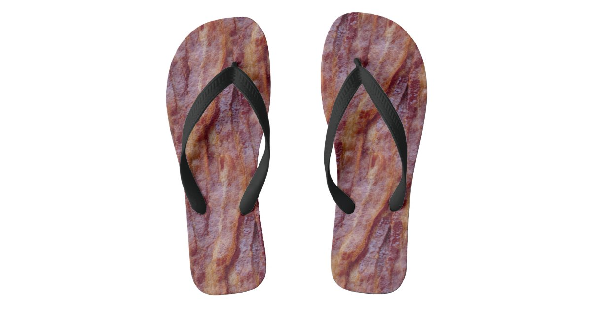 aad247d655942 Bacon Strips Flip Flops   Zazzle.com