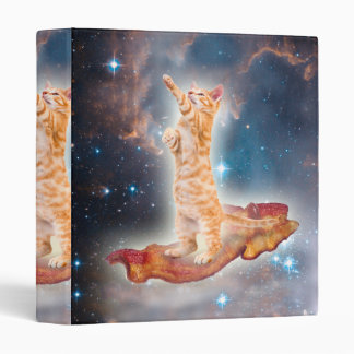 Bacon Surfing Cat in the Universe 3 Ring Binder