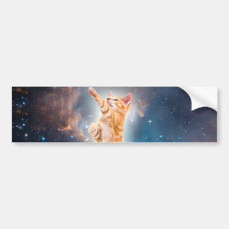 Bacon Surfing Cat in the Universe Bumper Sticker