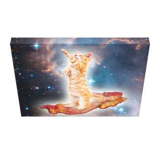 Bacon Surfing Cat in the Universe Canvas Print