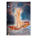 Bacon Surfing Cat in the Universe Card