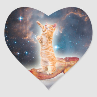 Bacon Surfing Cat in the Universe Heart Sticker