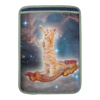 Bacon Surfing Cat in the Universe MacBook Sleeves