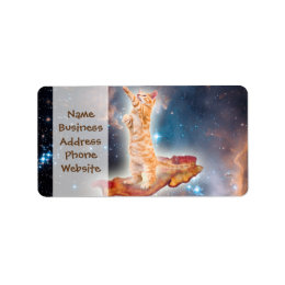 Bacon Surfing Cat in the Universe Label