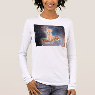 Bacon Surfing Cat in the Universe Long Sleeve T-Shirt