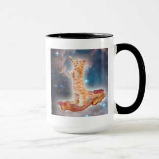 Bacon Surfing Cat in the Universe Mug