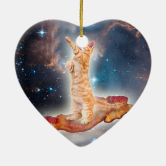 Bacon Surfing Cat in the Universe Double-Sided Heart Ceramic Christmas Ornament