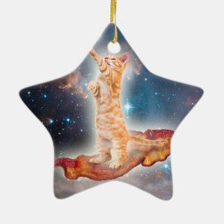 Bacon Surfing Cat in the Universe Double-Sided Star Ceramic Christmas Ornament