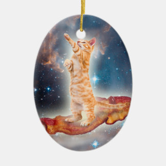 Bacon Surfing Cat in the Universe Double-Sided Oval Ceramic Christmas Ornament