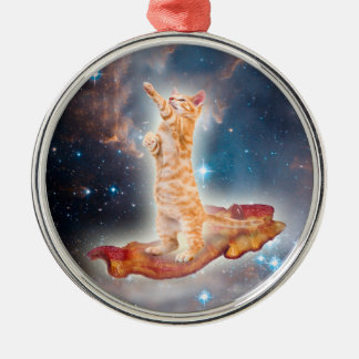 Bacon Surfing Cat in the Universe Round Metal Christmas Ornament