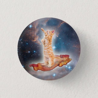 Bacon Surfing Cat in the Universe Pinback Button