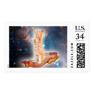 Bacon Surfing Cat in the Universe Postage