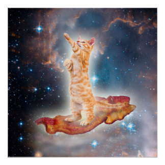Bacon Surfing Cat in the Universe Poster