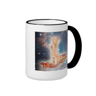 Bacon Surfing Cat in the Universe Ringer Mug