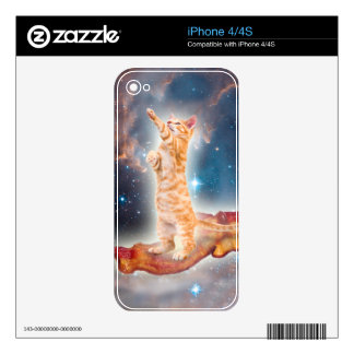 Bacon Surfing Cat in the Universe Skin For iPhone 4