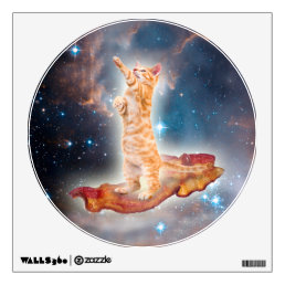 Bacon Surfing Cat in the Universe Wall Sticker
