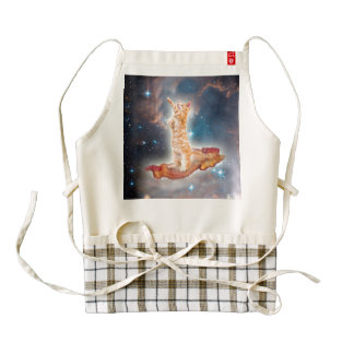Bacon Surfing Cat in the Universe Zazzle HEART Apron