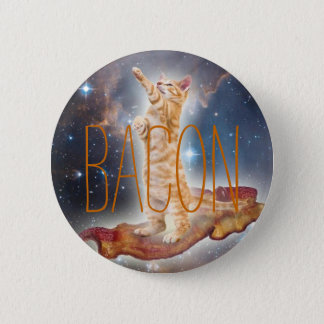 Bacon Surfing Cat Pinback Button